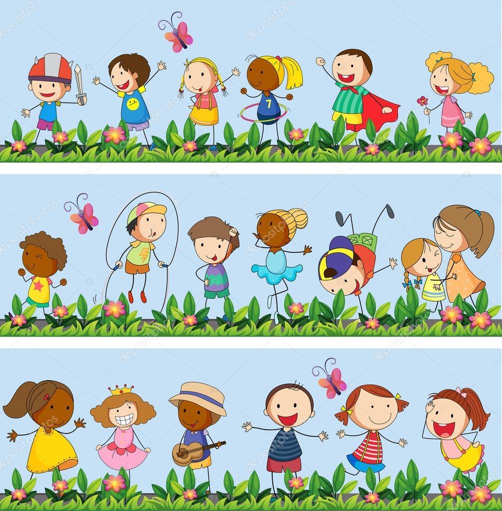 Niños que juegan juntos en el Parque — Vector de stock ...