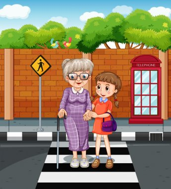 Girl and old lady crossing the road