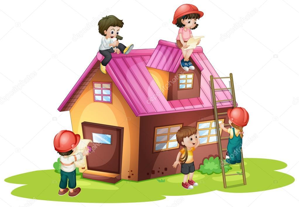 Niños de fijación y construcción de casa — Vector de stock ...