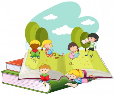 Many children reading books in the park