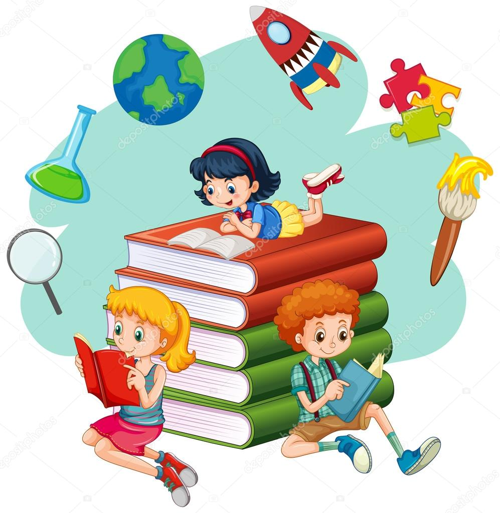 tr u00eas crian u00e7as lendo livros vetor de stock clip art children reading the bible clip art children riding
