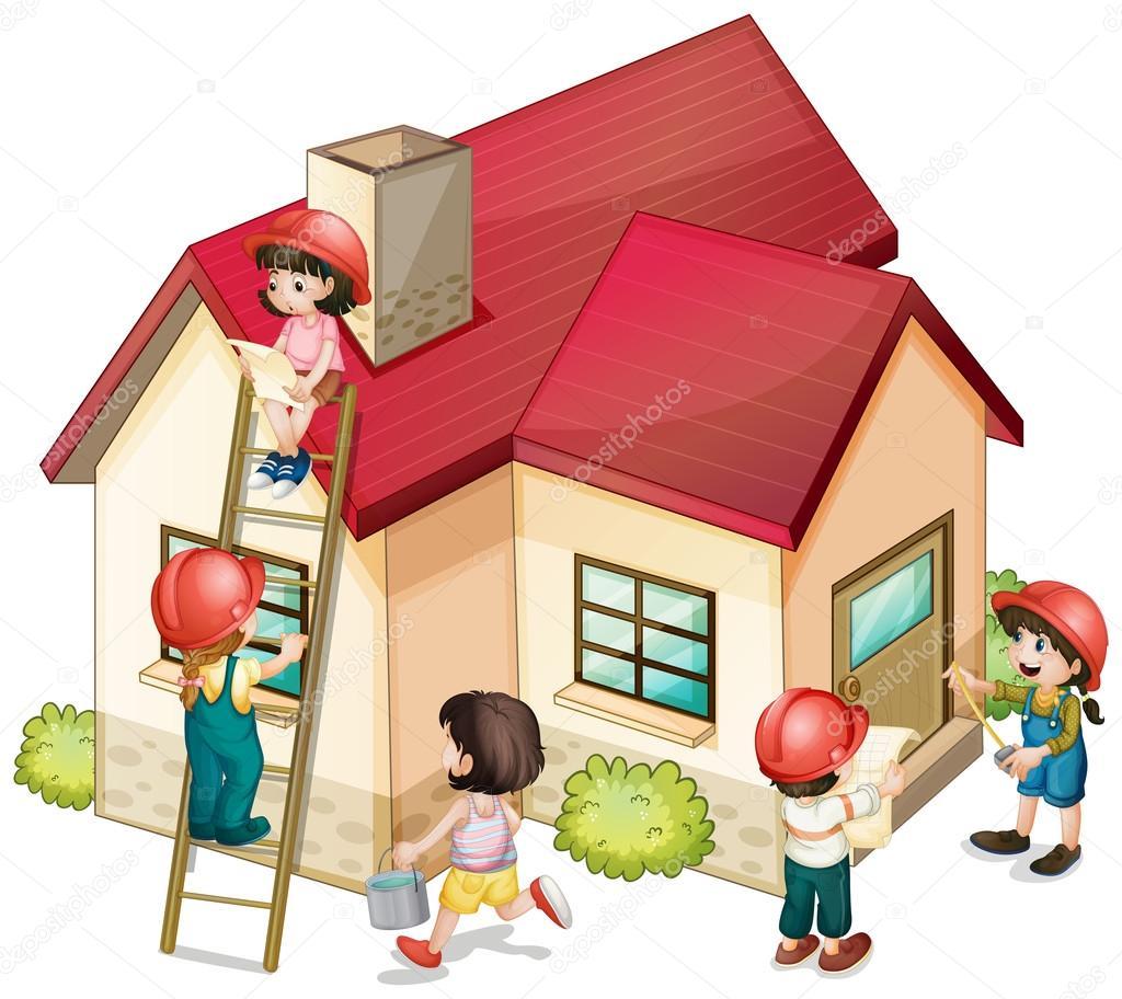 Muchos ni os y ni as construyendo la casa archivo for Costruendo su una casa di ranch