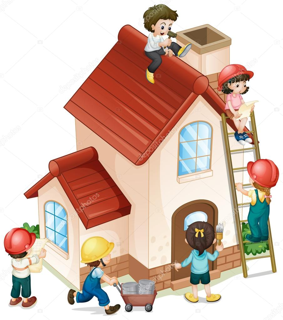 Mensen bouwen en schilderen van het huis — Stockvector ...