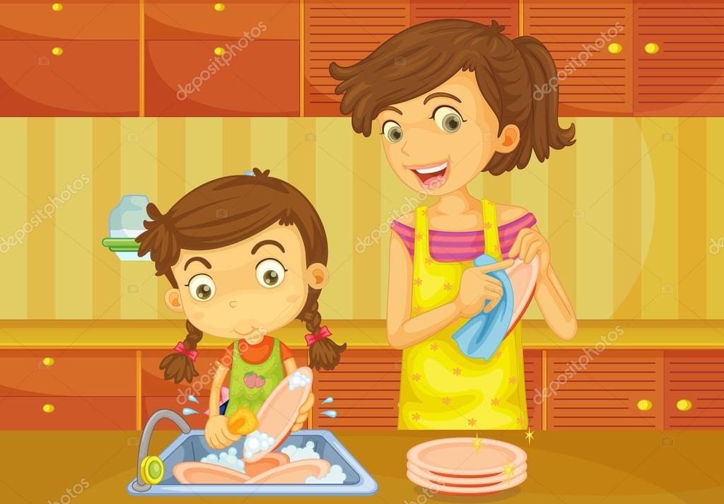 Imágenes Mama Lavando Para Colorear Madre De La Niña Ayuda A