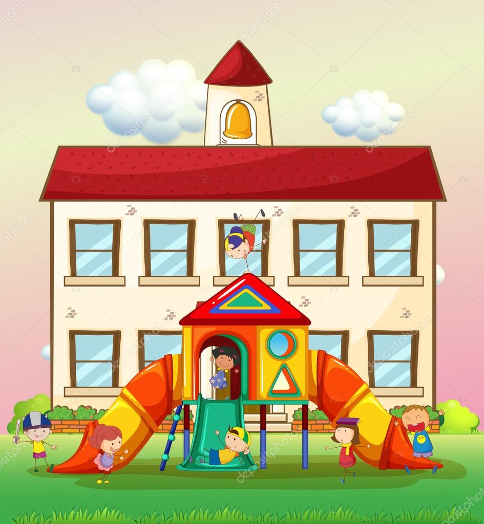 children playing slide at school illustration vector by interactimages - Images Of Children Playing At School