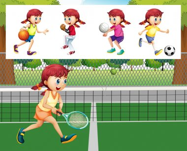 Girl doing different sports