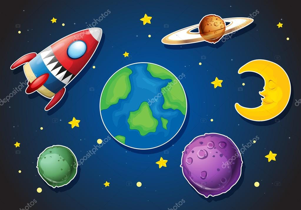 Spaceship and different planets in galaxy — Stock Vector ...