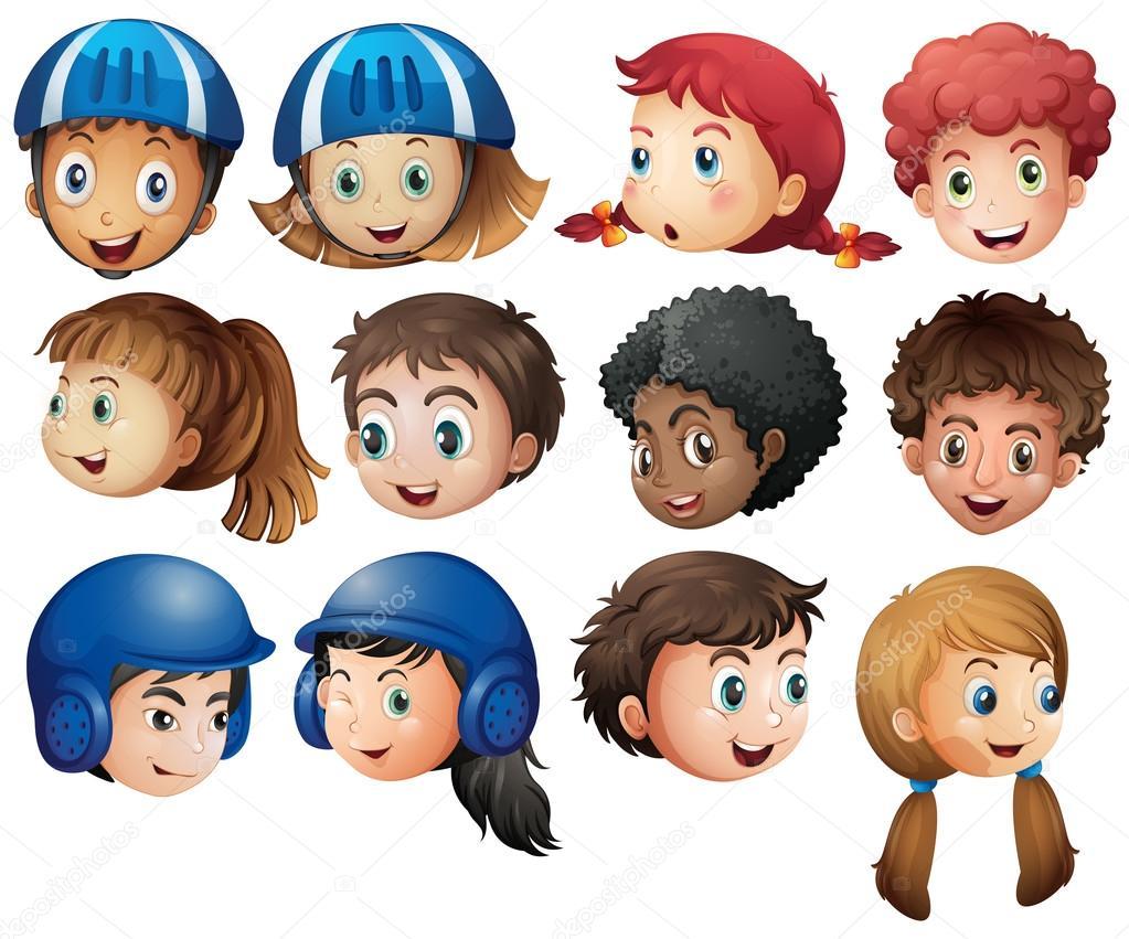 Rostros De Niños Animados: Vector: Caras De Niñas Felices