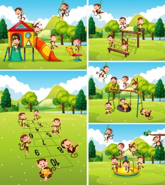 Lots of monkeys playing on playground