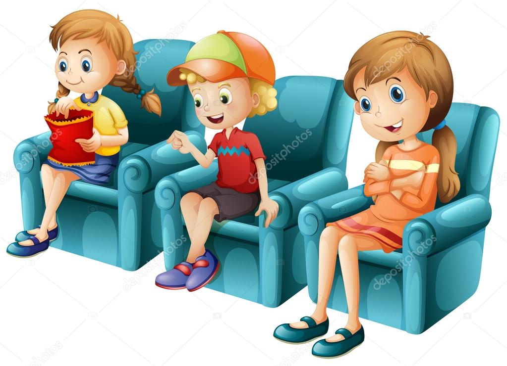 Mavi Koltukta Oturan çocuk Stok Vektör Interactimages 124490808