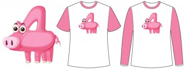 Set of two types of shirt with pig in number four shape screen on t-shirts illustration icon
