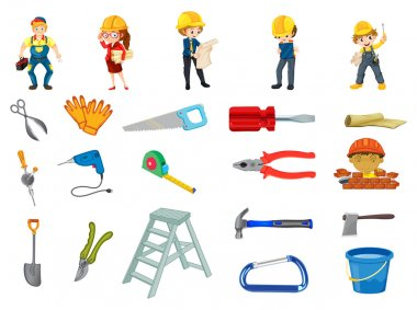 Illustration of workers and	 construction equipments clip art vector