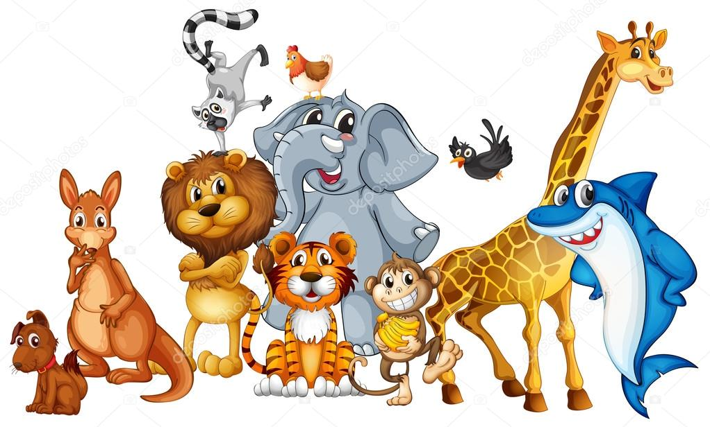 Illustration of many animals standing stock vector