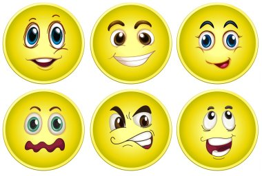 Illustration of yellow faces with different emotions stock vector