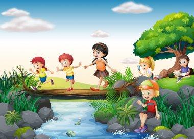 Illustration of children crossing a stream stock vector