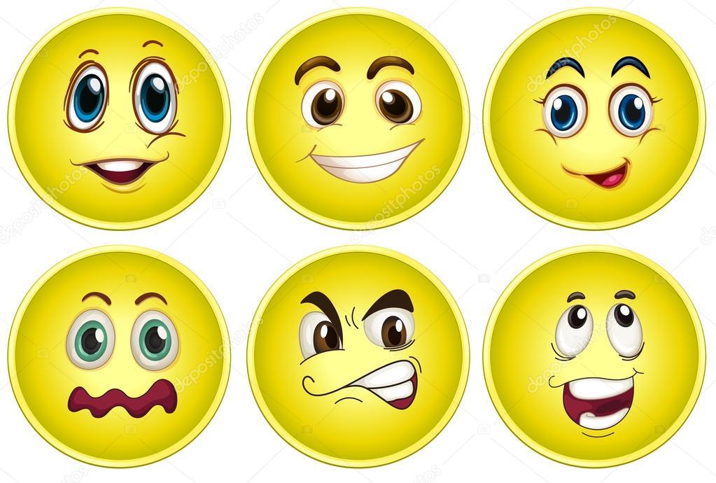 黄色い顔セット — ストックベク...