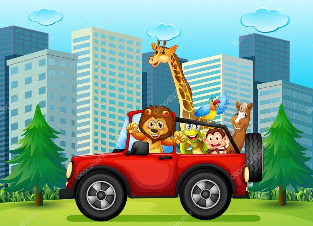 A Jeepney With Animals Stock Vector Interactimages 52859239