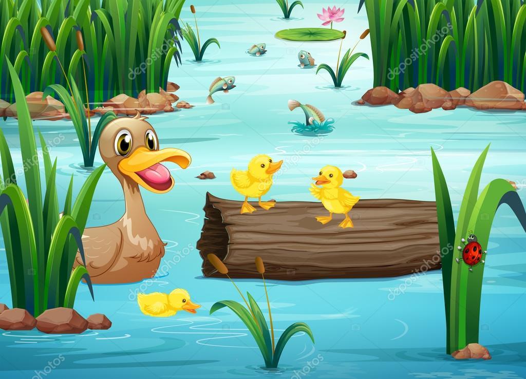 Un laghetto con animali felici vettoriali stock for Animali laghetto
