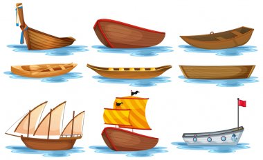 Illustration of different kind of boats stock vector