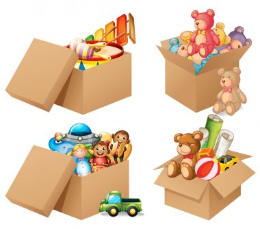 Illustration of four different box of toys stock vector