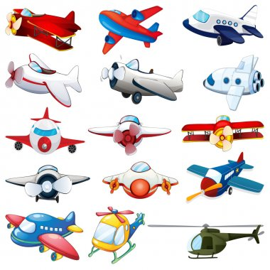 Illustration of different kind of planes stock vector