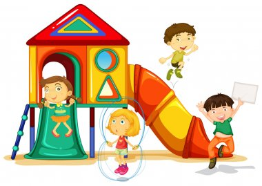 Illustration of many children playing on a slide stock vector