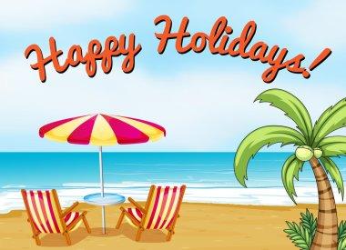 Happy holidays beach scene with text clip art vector