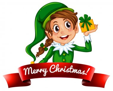 Christmas logo with female elf