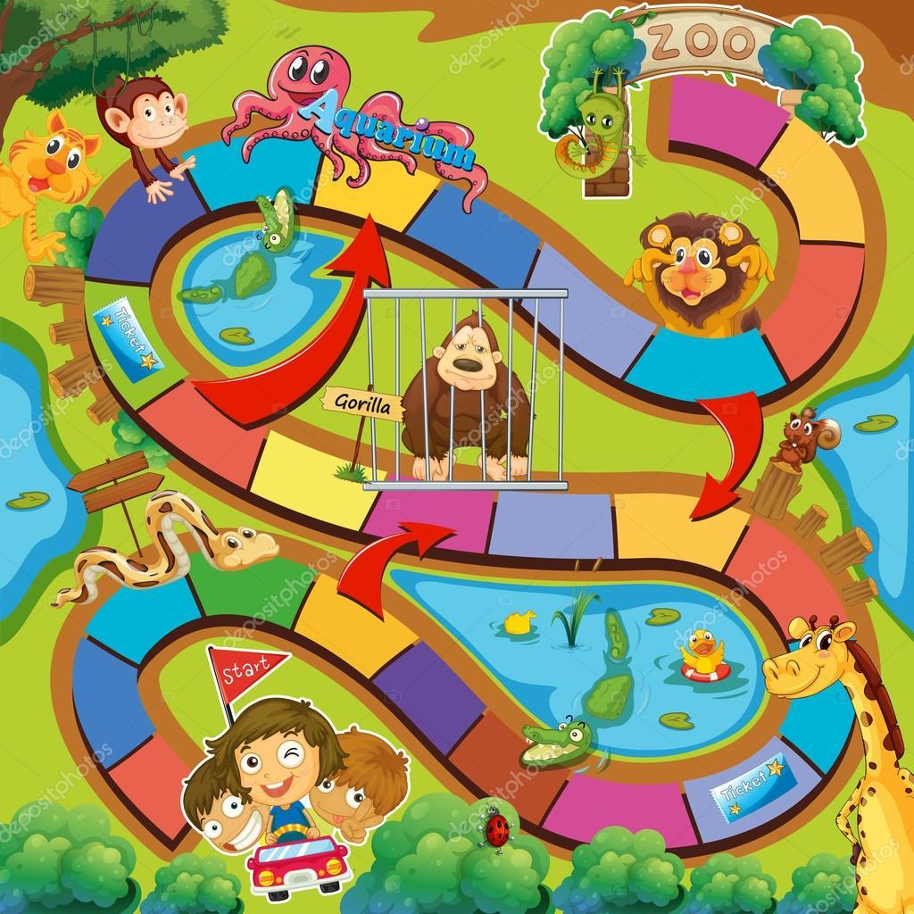 Fun board game with a zoo theme stock vector