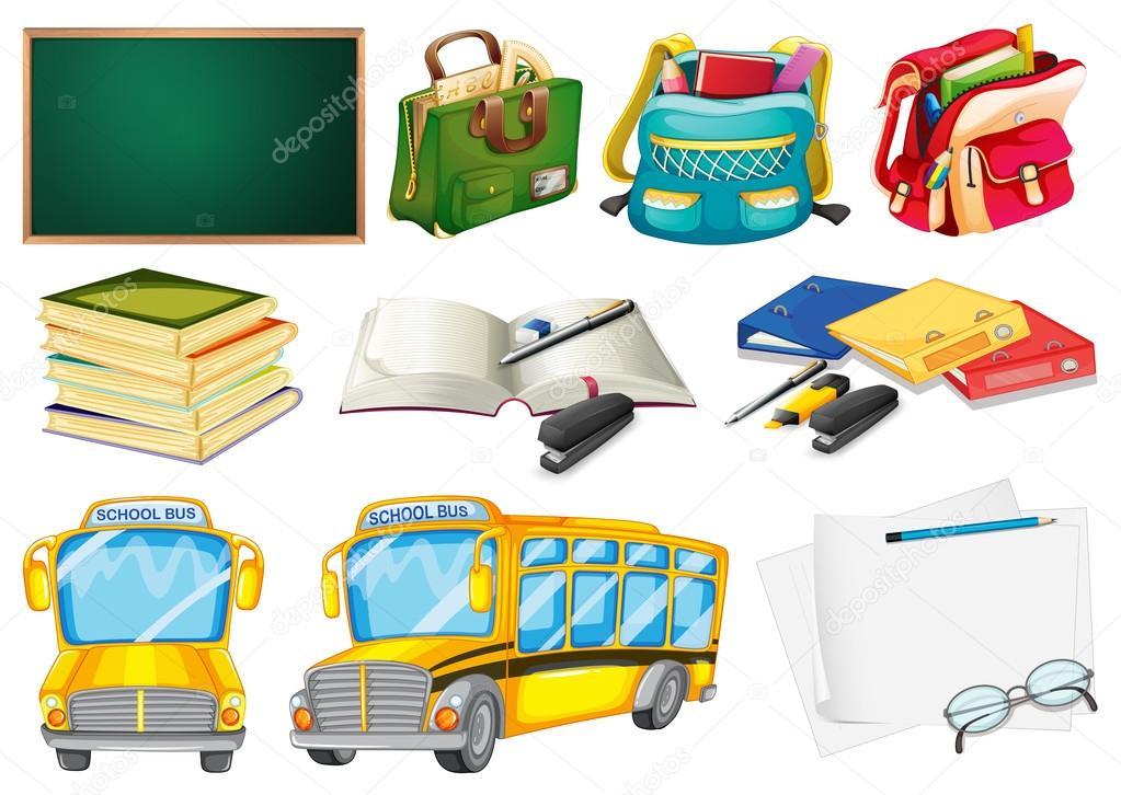 Fondo Utiles Escolares Vector: Conjuntos De útiles Escolares