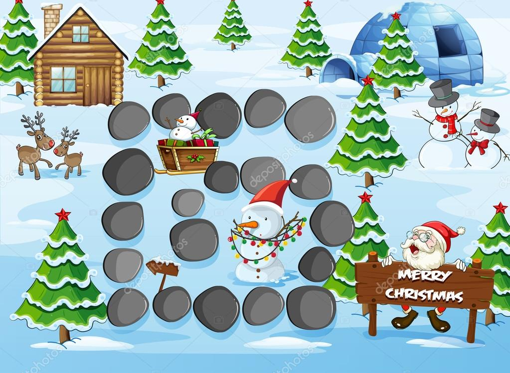 Board game with Merry Christmas theme stock vector