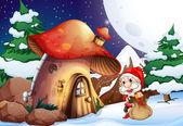 Weihnachtsmann vor dem Pilzhaus