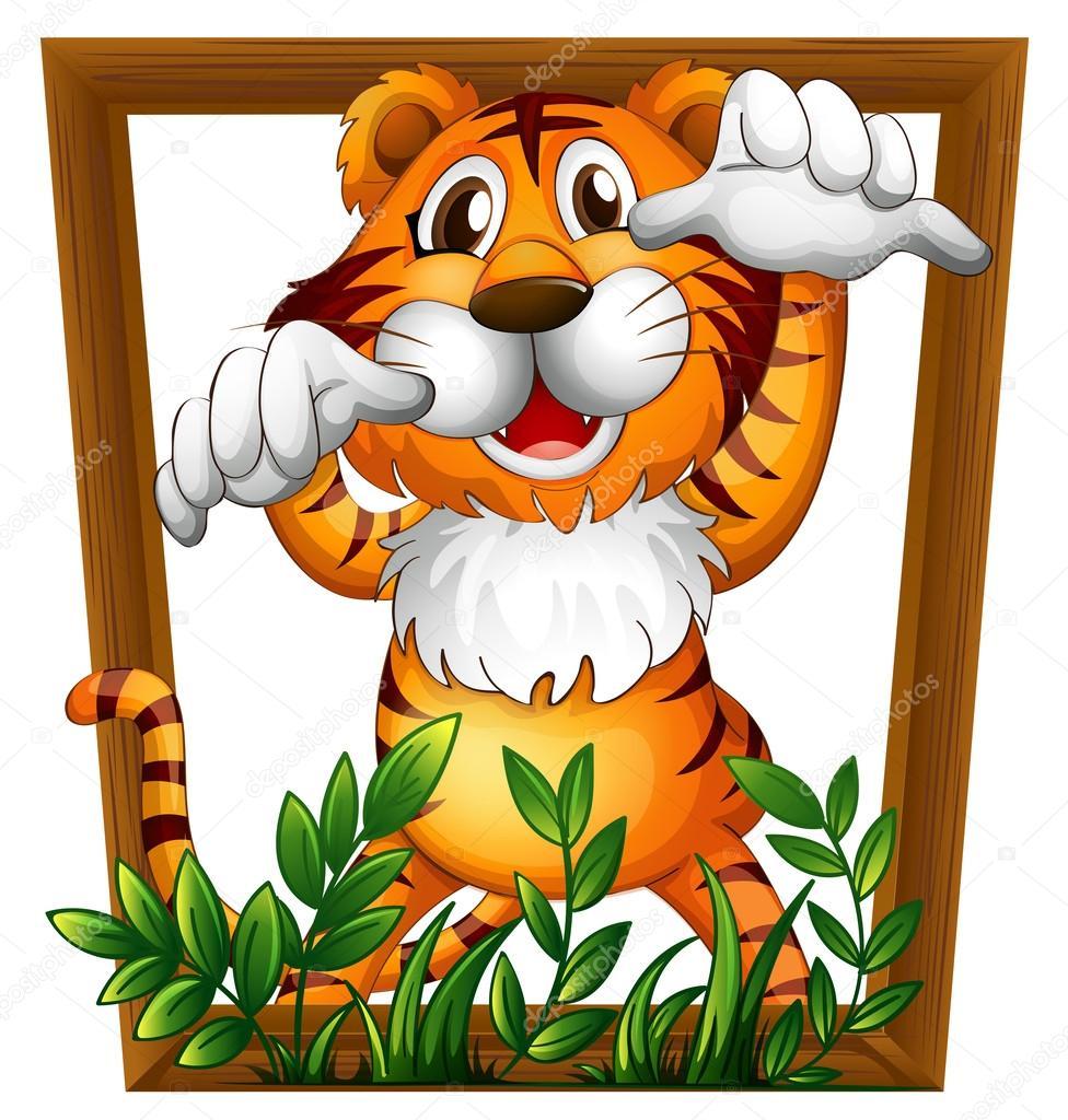 Tigre y marco — Vector de stock © interactimages #62246727