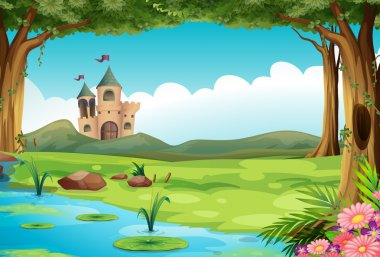 Illustration of a castle and a pond stock vector