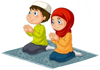 Two muslims praying on the carpet stock vector