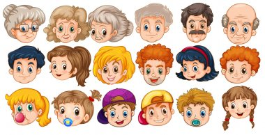 Many faces of people in different ages stock vector