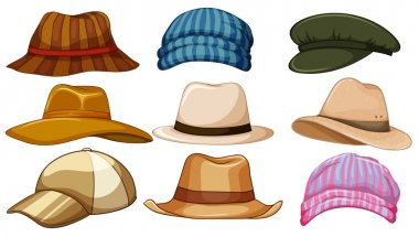 Different kind of hipster hat stock vector