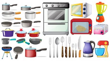 Different type of kitchen objects and electronic devices stock vector