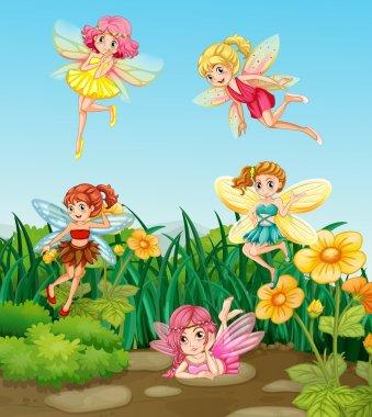 Beautiful fairies flying in the garden clip art vector
