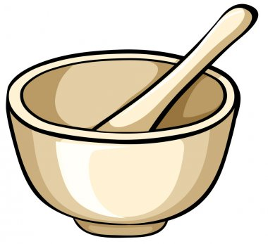 Mortar with bowl and spoon