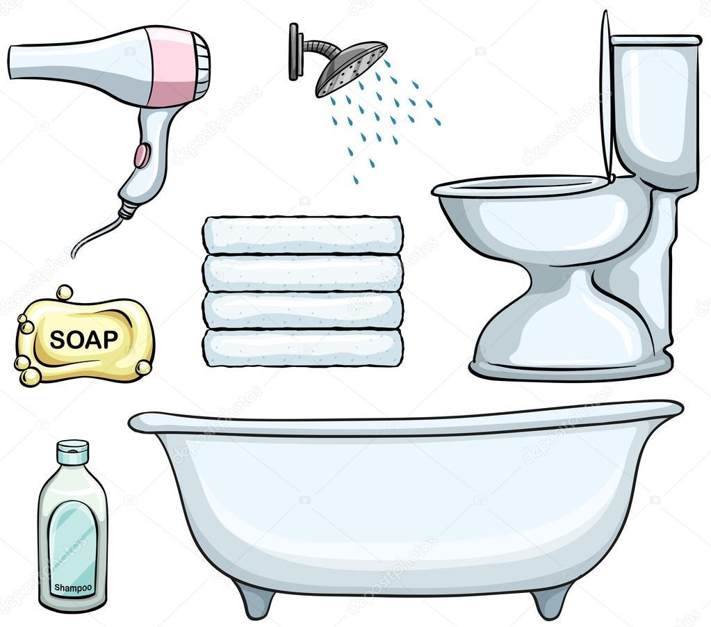 diversi tipi di oggetti del bagno illustrazione vettoriale