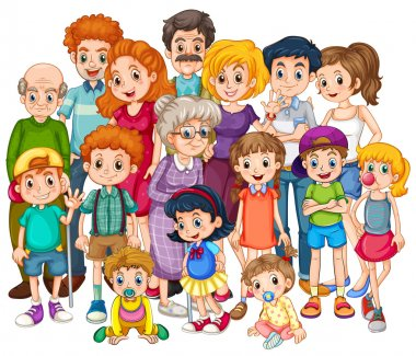 Family members happy together in one shot clip art vector