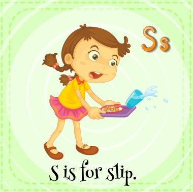Flashcard letter S is for slip.