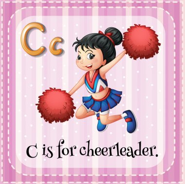 Flashcard letter C is for cheerleader.