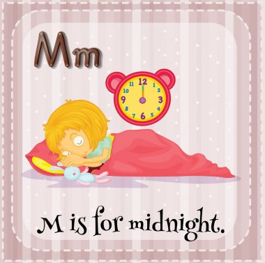 Flashcard letter M is for midnight.