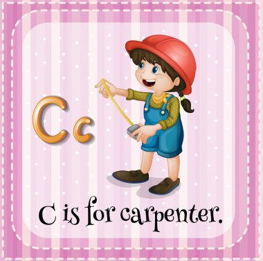 Flashcard letter C is for carpenter