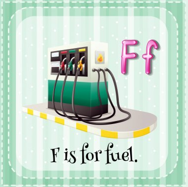 Flashcard letter F is for fuel.