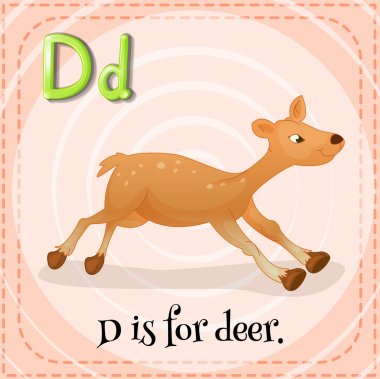 Flashcard letter D is for deer .