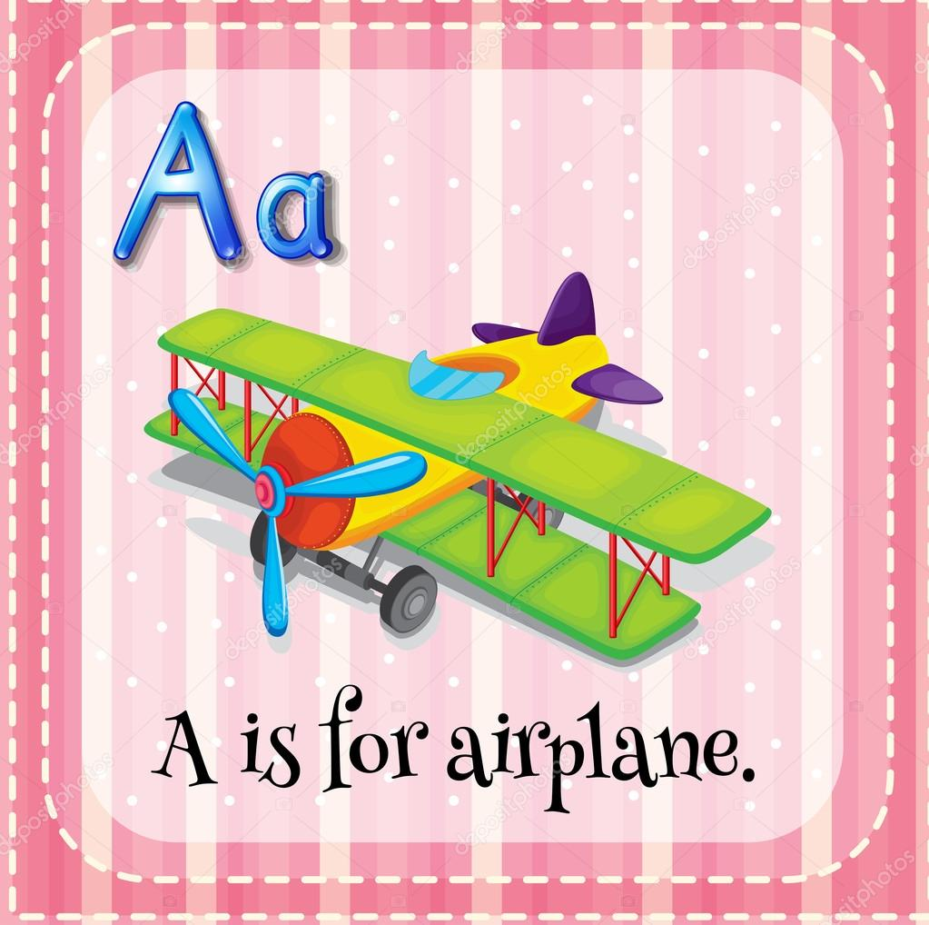 flashcard letter a is for airplane u2014 stock vector interactimages