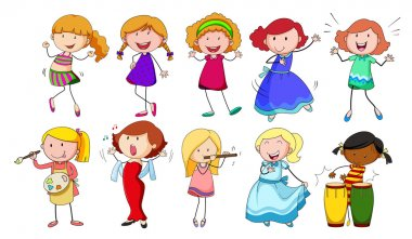 Set of girls doing different activities on a white background stock vector